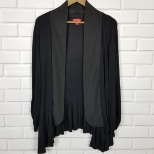 Elle Black Open Front Waterfall Cardigan Large
